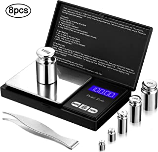 8 Pieces Digital Pocket Scale Set, 100 g 0.01 g Mini Scale Electronic Grams Scale with 1 g, 2 g, 5 g, 10 g, 20 g, 100 g Calibration Weight and Calibration Weight Tweezer for Food Jewelry