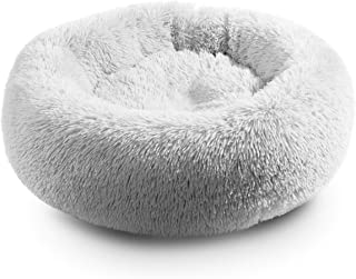Hollypet Self-Warming Donut Pet Bed Luxury Cozy Nest Sleeping Bed Round Faux Fur Bed for Cats and Small Medium Dogs, 25 x ...