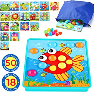 Insoon Button Art Toddler Toys Preschool Learning Color Matching Mosaic Games for 3 4 5 Years Old Boys and Girls Baby Development Peg Toy for Kids