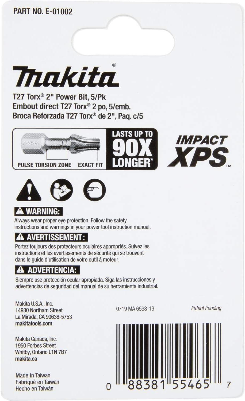 5 St/ück Makita E-00985 Impact XPS T20 Torx 5,1 cm Power-Bit