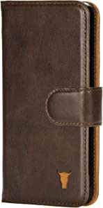 TORRO Cell Phone Case Compatible with Apple iPhone SE (2020) and iPhone 8/7 Genuine Quality Leather Wallet Cover with [Card Slots] [Durable Frame] 4.7 Inch (Dark Brown)