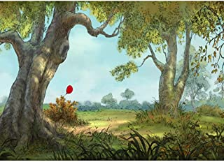 Photography Backdrop Newborn Fairytale Forest Pooh Birthday Backdrop 7x5ft Red Balloons Cartoon Jungle Wood Trees Photo Background Baby Shower Happy Birthday Party Backgrounds