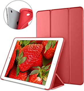 DTTO iPad Air 1st Edition Case, (NOT for iPad Air 2 and Air 3) Ultra Slim Lightweight Smart Trifold Stand with Flexible Soft TPU Back Cover [Auto Sleep/Wake], Red