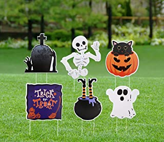 Halloween Yard Signs Stakes Decorations - Pumpkin Ghost Skeleton Garden Outdoor Lawn Decors Party Props Supplies - 6 Packs