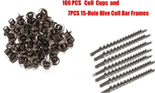 Sunflower Beekeeping Queen Rearing Base Mount Cell Cups with bee Frame Cell bar/JZ-BZ Cell bar(7PCS 15-Hole Hive Cell Bar Frames Combs with 100pcs Plastic Cell Cups)