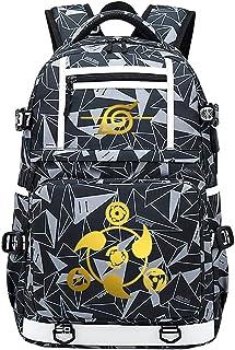 Naruto Mochila Ordenador Portatil,Mochila Antirrobo Impermeable, para Mujeres Hombres con Puerto De Carga USB Mochila Sin Palabras Dorada 48X30X15CM
