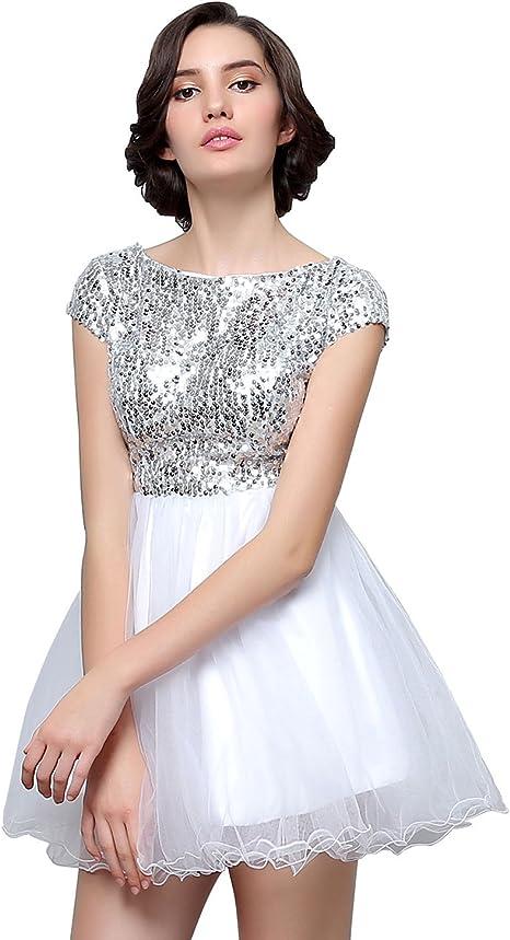 Favebridal Tull Kurz Cocktailkleider Glitzer Mini Partykleid Ballkleid Abendkleider Sd396sl46 Amazon De Bekleidung