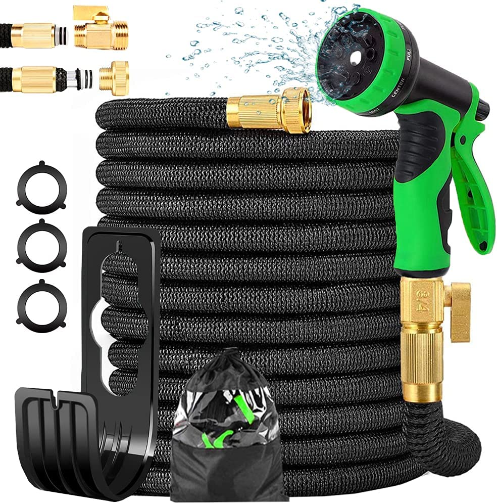 Donrovia 100ft Garden Hose,Expandable Garden Hose with 9 Function Nozzle, Leak-proof Lightweight Retractable Hose with 3/4