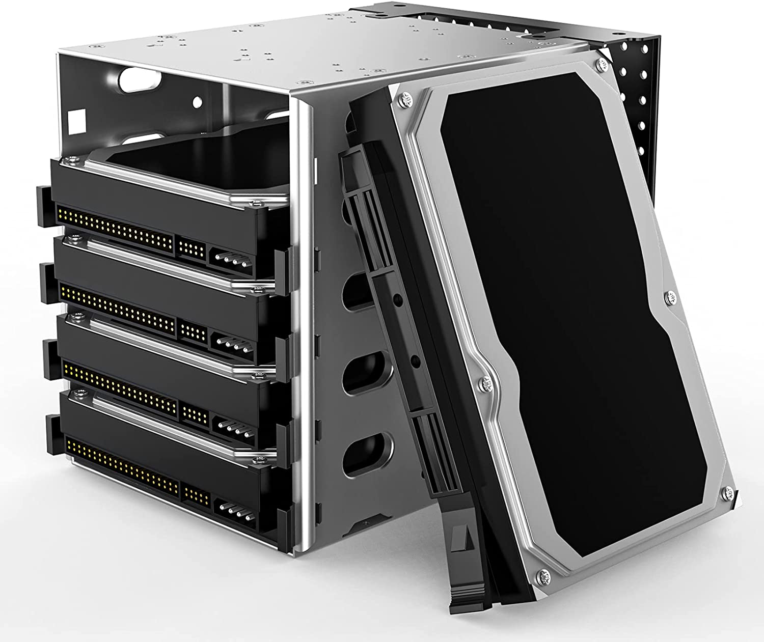 Hard Drive Cage, Stainless Steel Cage Hard Drive Tray Rack with Fan Space, Adapter Rack Bracket SATA 5.25