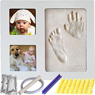 Baby Handprint & Footprint Keepsake Photo Frame Kit for Newborn Girls and Boys, Wall/Table Wooden Frame + White Non-Toxic Clay+Alphabet Stamp.Perfect Registry, Baby Shower, New Mom, Birthday Gift!