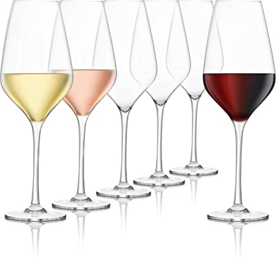 Final Touch Everyday Wine Glasses, Lead-Free Crystal (6)