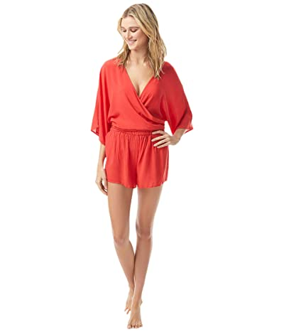 Vince Camuto San Remo Shades Convertible Tie Cover-Up Romper (Poppy) Women