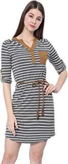 Allegra K Women's V Neck 3/4 Roll Up Sleeves Belted Striped Lady Tunic Shirt Dress with Pocket