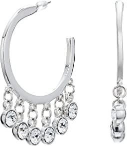 Kenneth Jay Lane - Silver/Crystal Drops Pierced Hoop Earrings