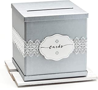 """Hayley Cherie - Silver Gift Card Box with White Lace & Cards Label - Textured Finish - Large Size 10"""" x 10"""" - For Wedding ..."""