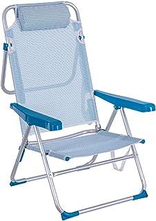 LOLAhome Silla de Playa Cama de 4 Posiciones de Aluminio y textileno (Azul)