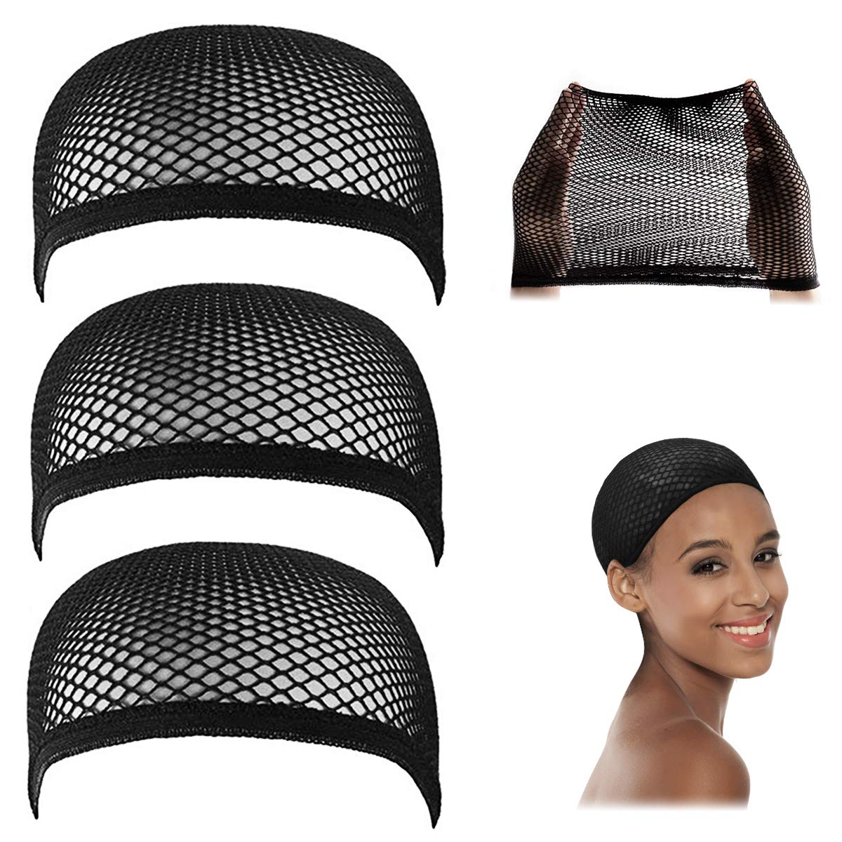 Dreamlover Popularity Crochet Wig Caps Black for sold out Wigs 3 Pac Mesh