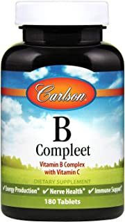 Carlson - B Compleet, Vitamin B Complex with Vitamin C, Energy Production, Nerve Health & Immune Support, 180 Tablets