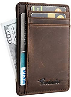 Front Pocket Minimalist Leather Slim Wallet RFID Blocking Medium Size