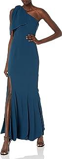 Dress the Population Women's Georgina One Shoulder Bow Detail Trumpet Gown Long Dress