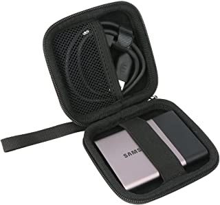 Khanka保護用ジッパー携帯ストレージ旅行ハードケースカバーバッグfor Samsung t1/ t3/ t5ポータブル500GB USB 3.0外付けSSD–ブラック