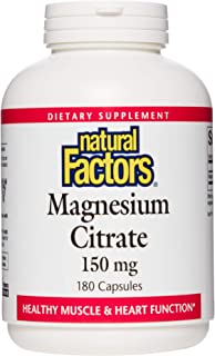 Natural Factors, Magnesium Citrate 150 mg, Muscle and Heart Health Formula, 180 Capsules