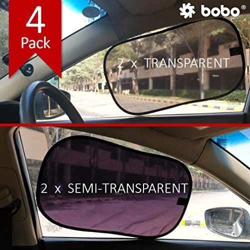 BOBO Car Sun Shade (Pack of 4) - 80 GSM with 15s Static Film (Highest Possible) for Full UV Protection - Universal Fi...