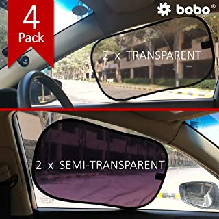 BOBO Car Sun Shade (Pack of 4) - 80 GSM with 15s Static Film (Highest Possible) for Full UV Protection - Universal Fit (for All Cars) - 2 Transparent and 2 Semi-Transparent Sun Shades