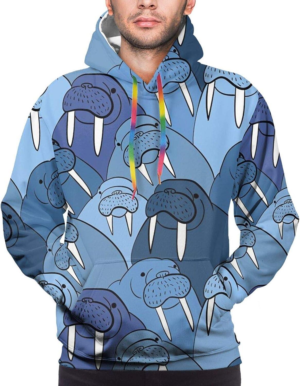 Hoodie For Teens Boys Girls Blue Walrus Hoodies Fashion Sweatshirt Drawstring