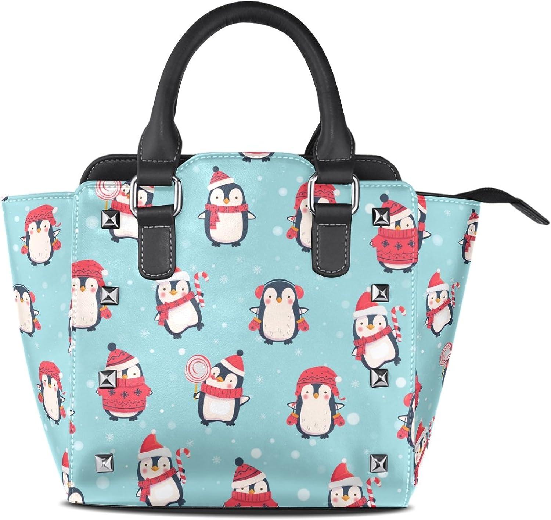 My Little Nest Women's Top Handle Satchel Handbag Cute Cartoon Penguin Ladies PU Leather Shoulder Bag Crossbody Bag