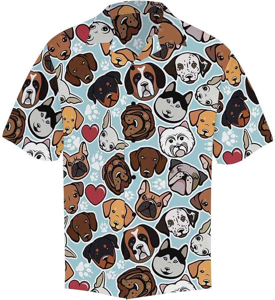 InterestPrint Men's Casual Button Down Short Sleeve Dog Butterfly Hawaiian Shirt (S-5XL)