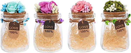BESTONZON 4Pcs Glass Favor Jar Small Glass Bottles Wedding Favors Container with Cork Lids and Flower Decor for Candy Pudd...