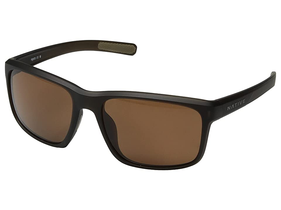 Native Eyewear Wells (Matte Brown Crystal/Brown Polarized Lens) Athletic Performance Sport Sunglasses