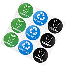 Ladieshow 60Pcs/Set Round Recycle Trash Compost Sticker Decal for Trash Cans Garbage Containers Recycle Bins