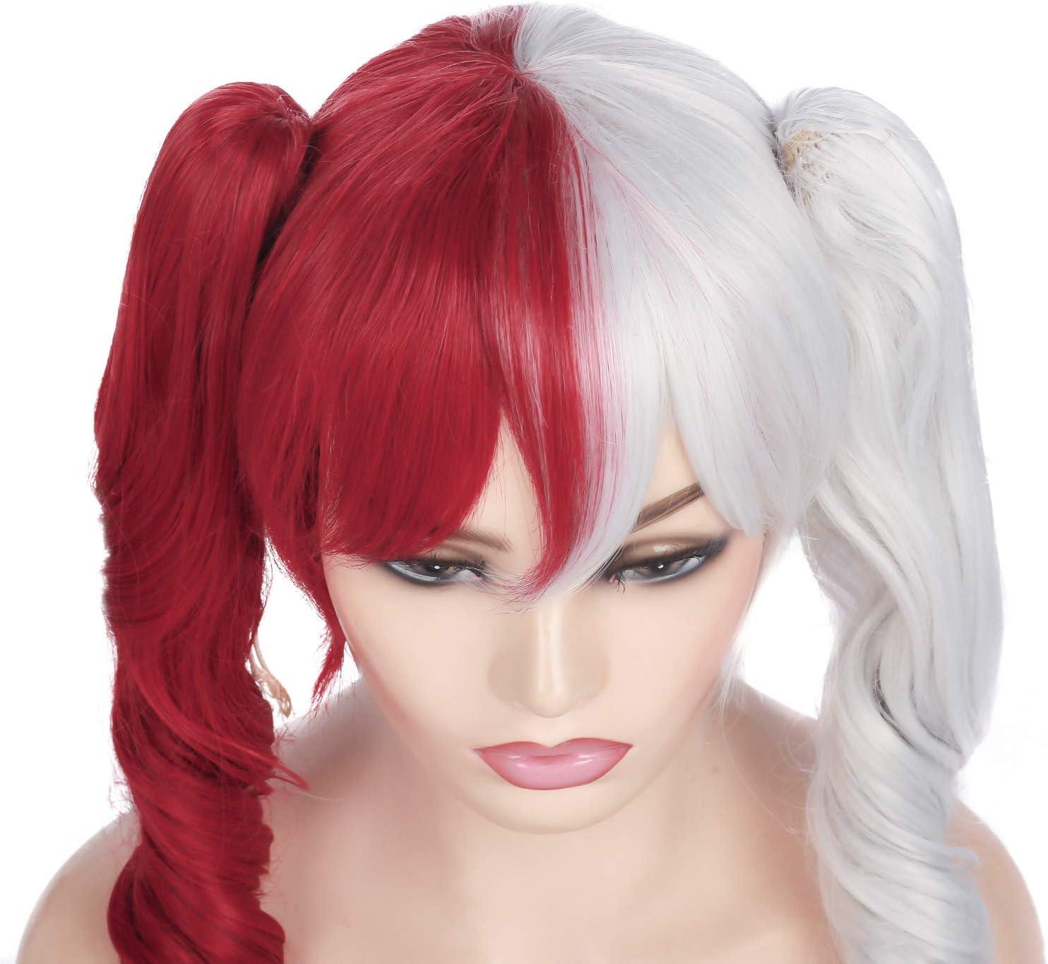 Perruque Cosplay Anime moiti/é Rouge moiti/é Blanc Perruque 2 Queue de Cheval Longue Frange Fris/ée Perruque de Cheveux Synth/étiques Femme Perruque Halloween Party