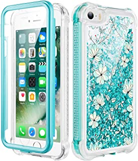 Caka iPhone 5 Case, iPhone 5S Case, iPhone SE Glitter Full Body Case with Built in Screen Protector Bling Sparkle Floating Liquid Girls Girly Women Cute Protective Case for iPhone 5 5S SE (light blue)