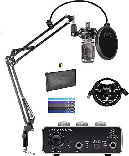 wholesale Audio-Technica AT2020USB+V Limited Edition Condenser Microphone (Chrome) Bundle with online sale U-PHORIA online UM2 USB Audio Interface, Blucoil Boom Arm Plus Pop Filter, 3' USB Extension Cable, and 5X Cable Ties outlet online sale