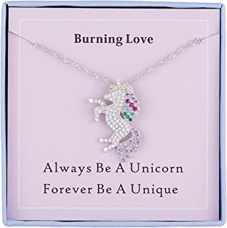 Unicorn Necklace for Girls Sterling Silver Cubic Zirconia Rainbow Unicorn Jewelry for Girls Jewelry Necklace Pendant for Women Girls Birthday Gifts