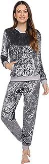 Abollria Donna Tute da Ginnastica Invernale 2 Pezzi, Completi Sportivi Abbigliamento con Cappuccio, Felpa per Corsa Yoga P...