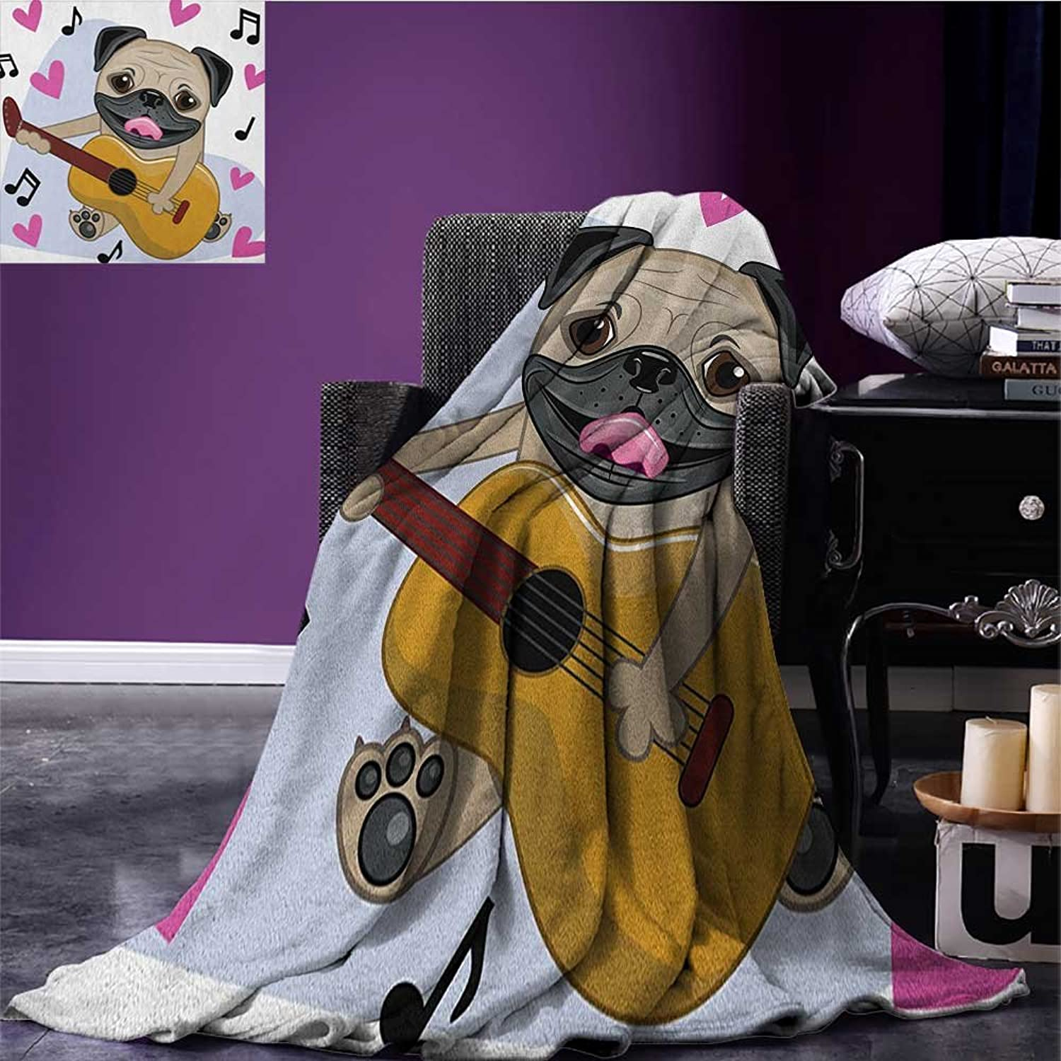 Pug Picnic Blanket Pug Dog Playing Guitar Singing with Cute Pink Hearts Funny Animal Cartoon Soft Throw Blanket Pale Brown Pink Black Size 59 x35.5