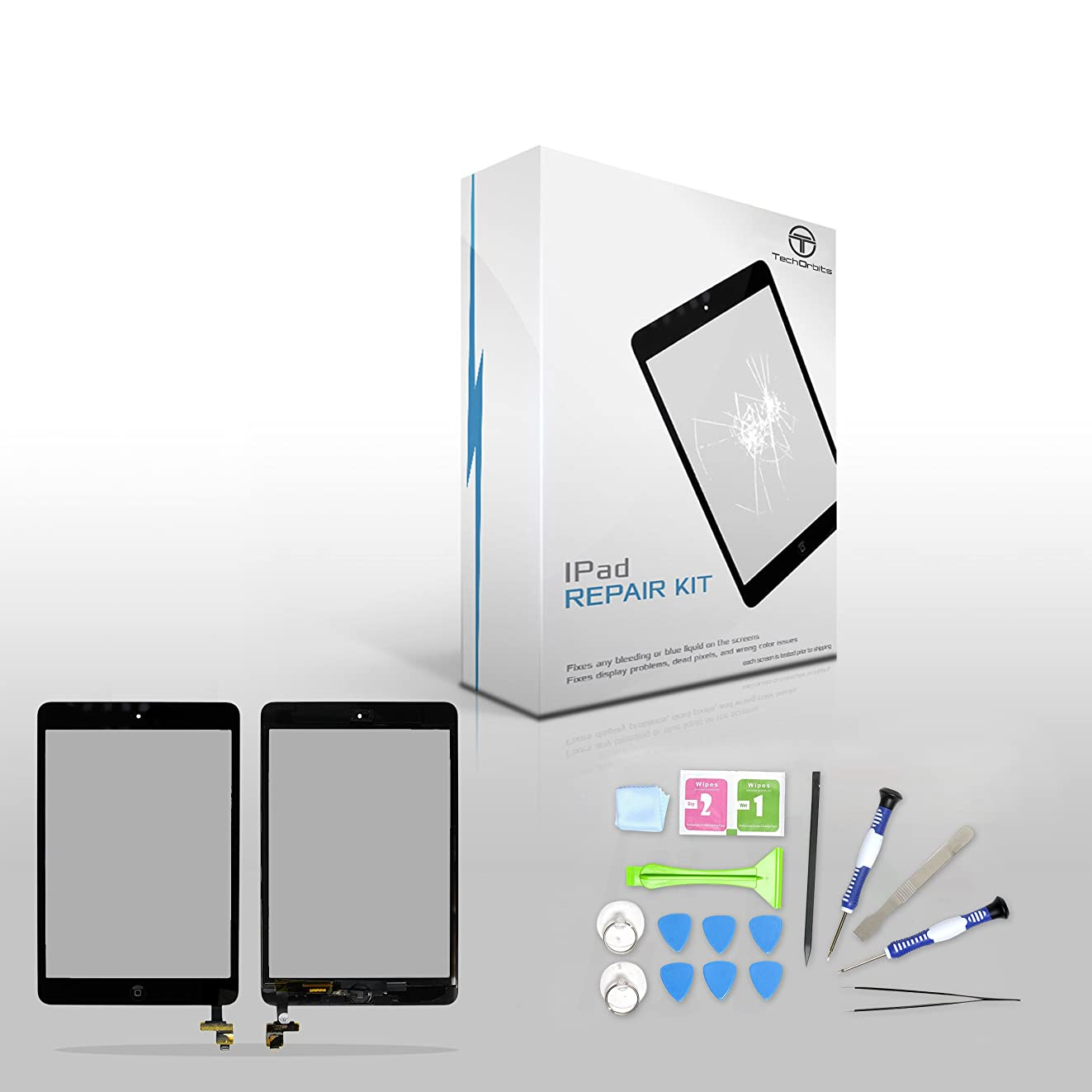 """TechOrbits IPAD Mini Touch Screen Digitizer Replacement 7.9"""" Mini & Mini 2 Retina Display with IC Chip & Home button A1432 A1454 A1455 A1489 A1490 A1491 (AT&T/T-Mobile/Sprint/Verizon) Black Repair Kit"""