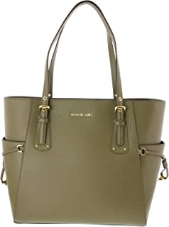 Voyager Textured Crossgrain Leather Tote- Olive