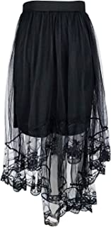 Women's High Low Mesh Net Lace Overlay Maxi Skirt,Black_Style 3