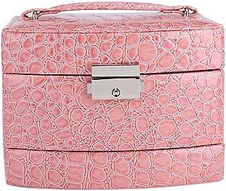 Caja de Joyería de 3 Capas con Espejo y Mango Caja Joyero para Collar Anillos Collar Broches Pulsera(Rosa)