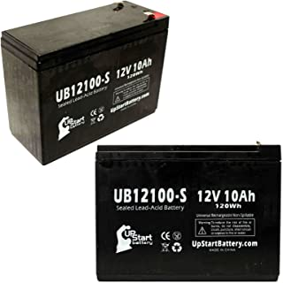 2x Pack UB12100-S Universal Sealed Lead Acid Battery Replacement (12V, 10Ah, 10000mAh, F2 Terminal, AGM, SLA) - Compatible with Schwinn S400 Battery, S350, S500 Missile FS S180 Razor Rebellion Chopper