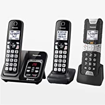 تلفن بی سیم Panasonic Rugged Link2Cell بلوتوث با دستیار صوتی ، بلوک مکالمه یک لمسی و دستگاه پاسخگو - 2 گوشی استاندارد + 1 گوشی ناهموار - KX-TGD583M2 (سیاه)