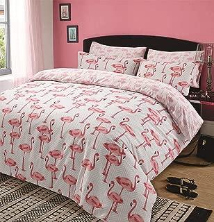 Dreamscene–Juego de Cama de Funda de edredón con Funda de Almohada Cama Flamingo Animal Print Rosa Gris–King