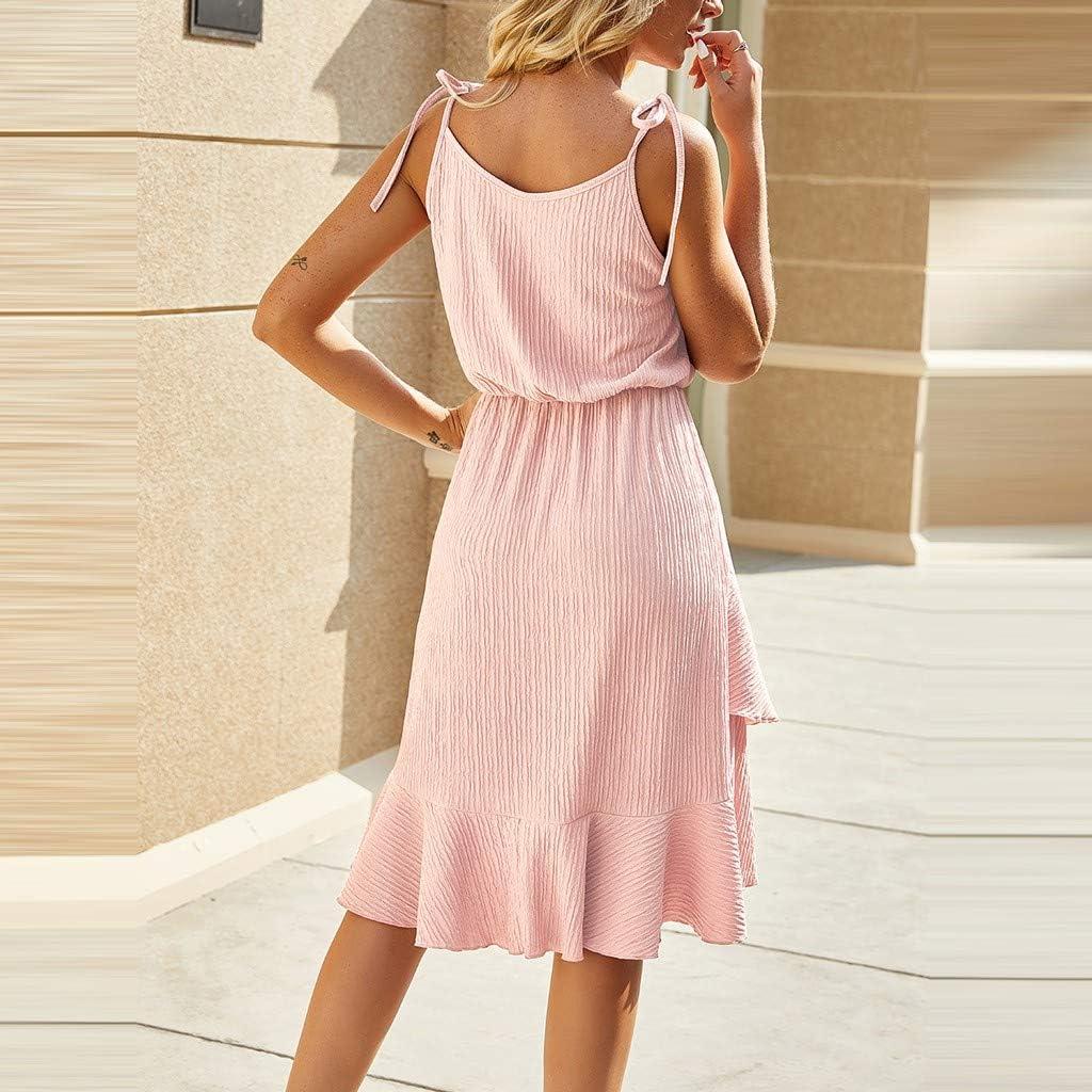 ZSBAYU Women Summer Dress Casual Sexy O-Neck Solid Color Irregular Sling Sleeveless Mini Short Dress