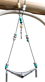 Yizi Retro Fashion Jewelry Ethnic Bohemian Tribal Pendant Turquoise Red Gems Jade Stone Enamel Tassel Necklace