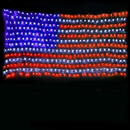 American Flag Lights with 420 Super Bright LEDs,KAZOKU Waterproof Led Flag Net Light of The United States for Yard,Ga...
